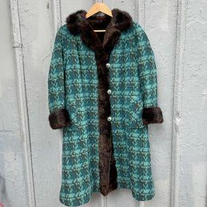 Vintage green plaid fur & wool coat